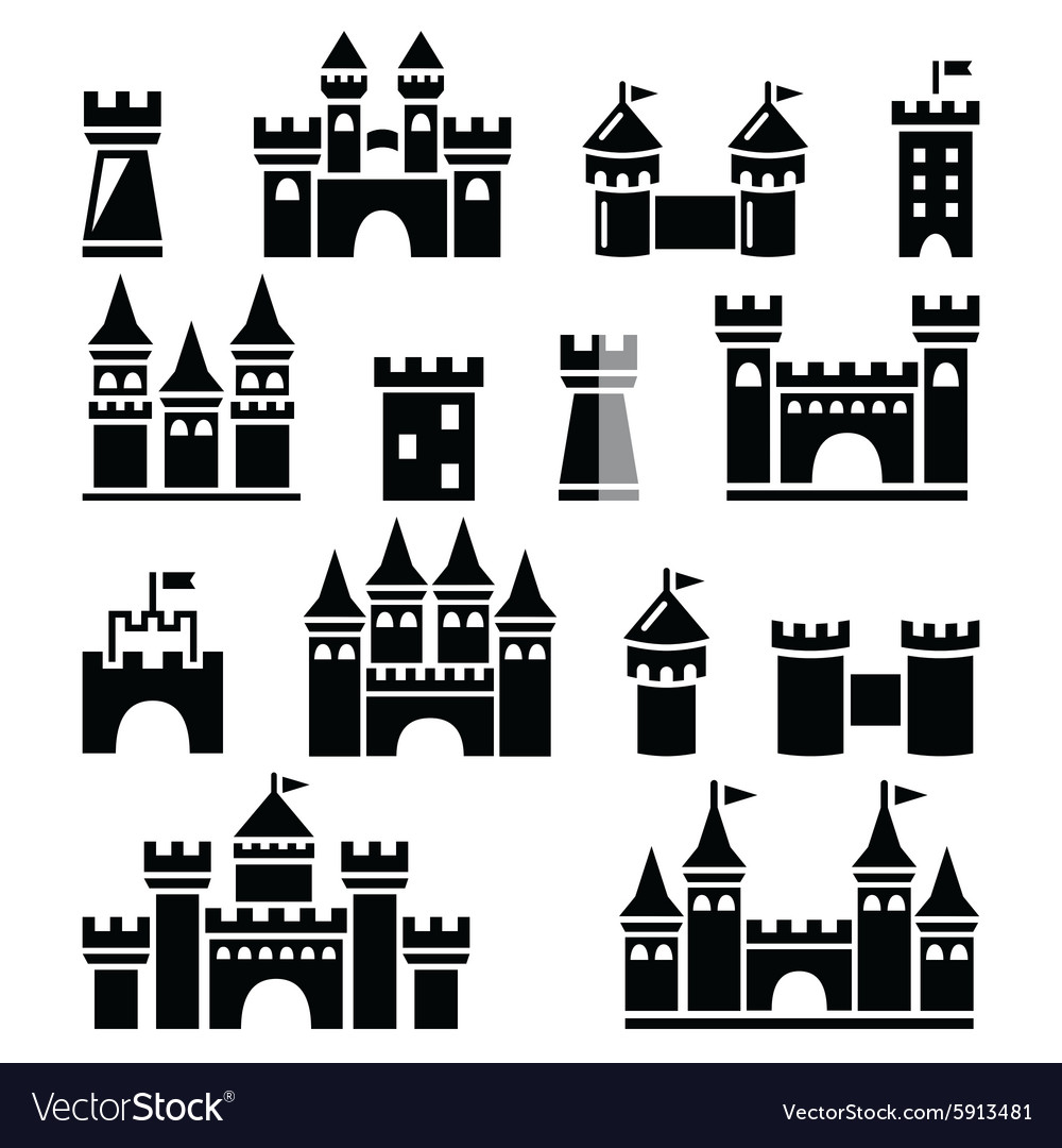 Castle towers icons set vector