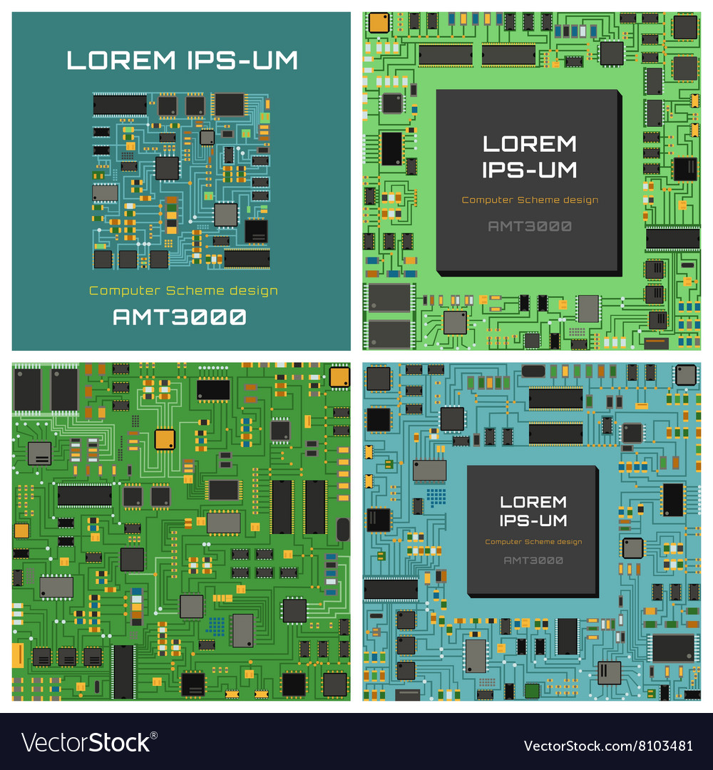 Computer chip electronic circuit board with vector