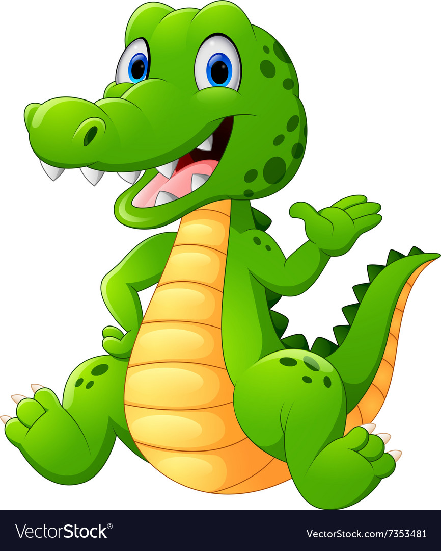 Cute crocodile waving hand vector