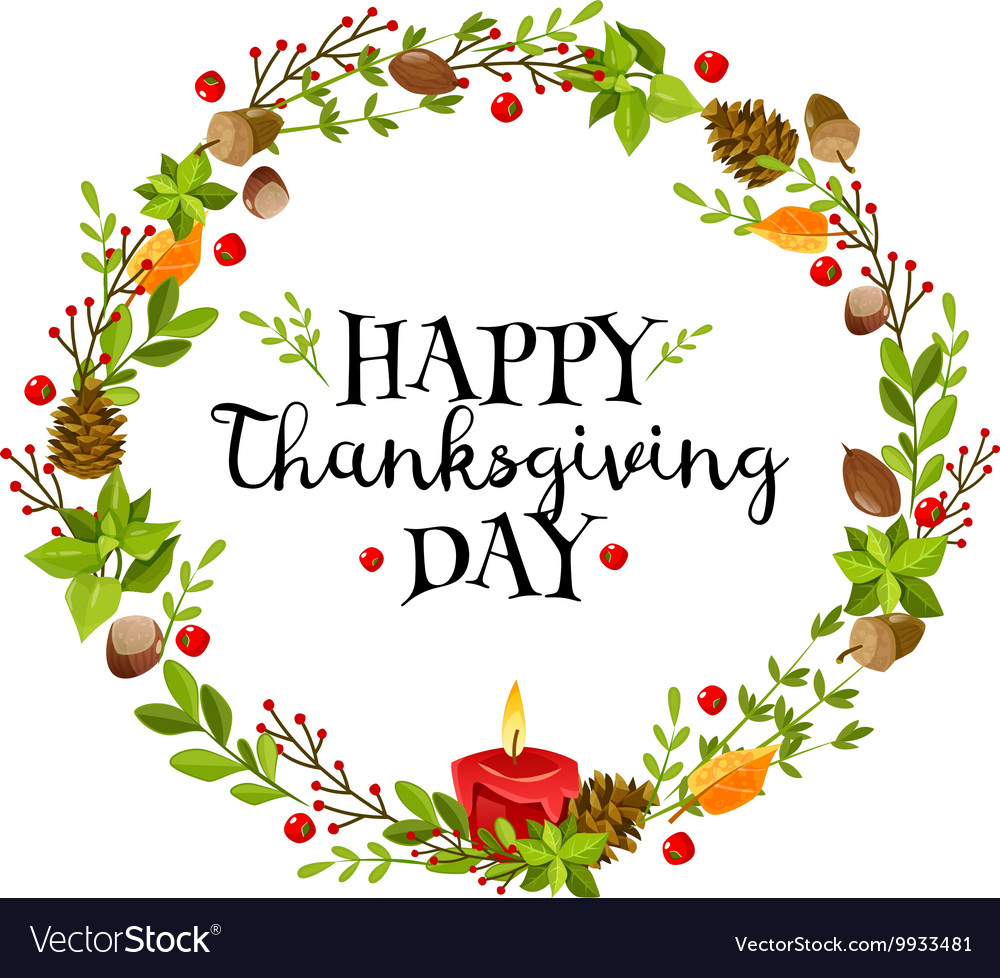 Happy thanksgiving wreath vector