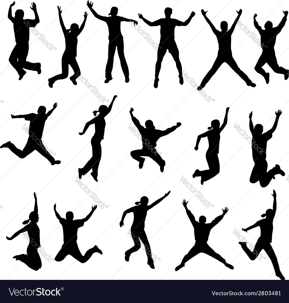 Jumping people vector