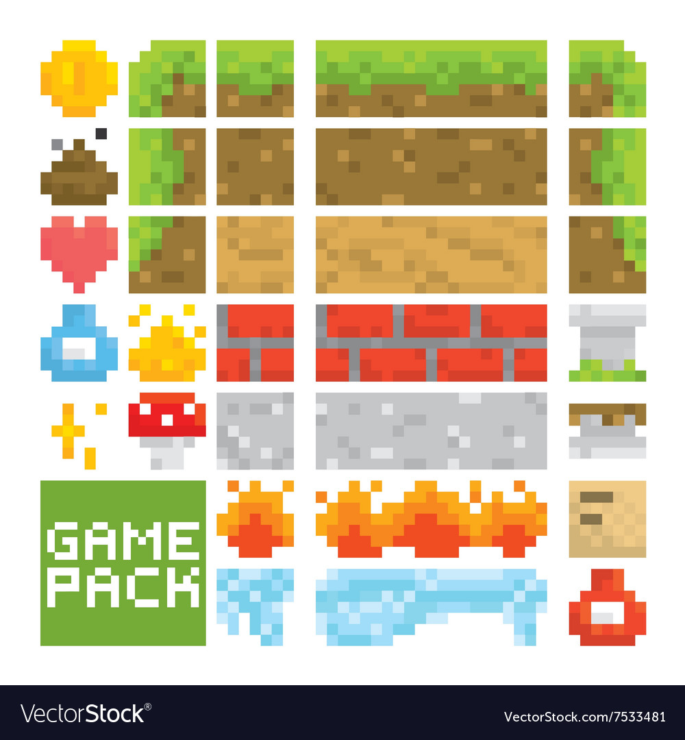 Pixel art style game level assets objects vector