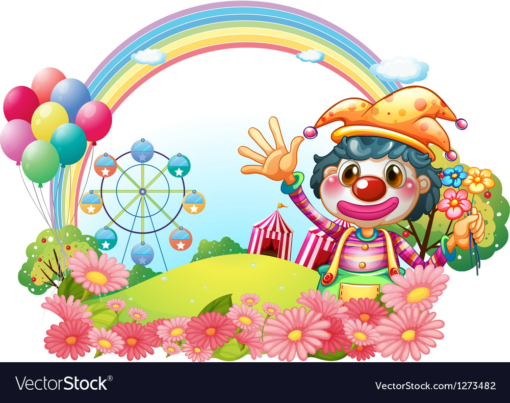 A female clown waving her hands near the garden vector