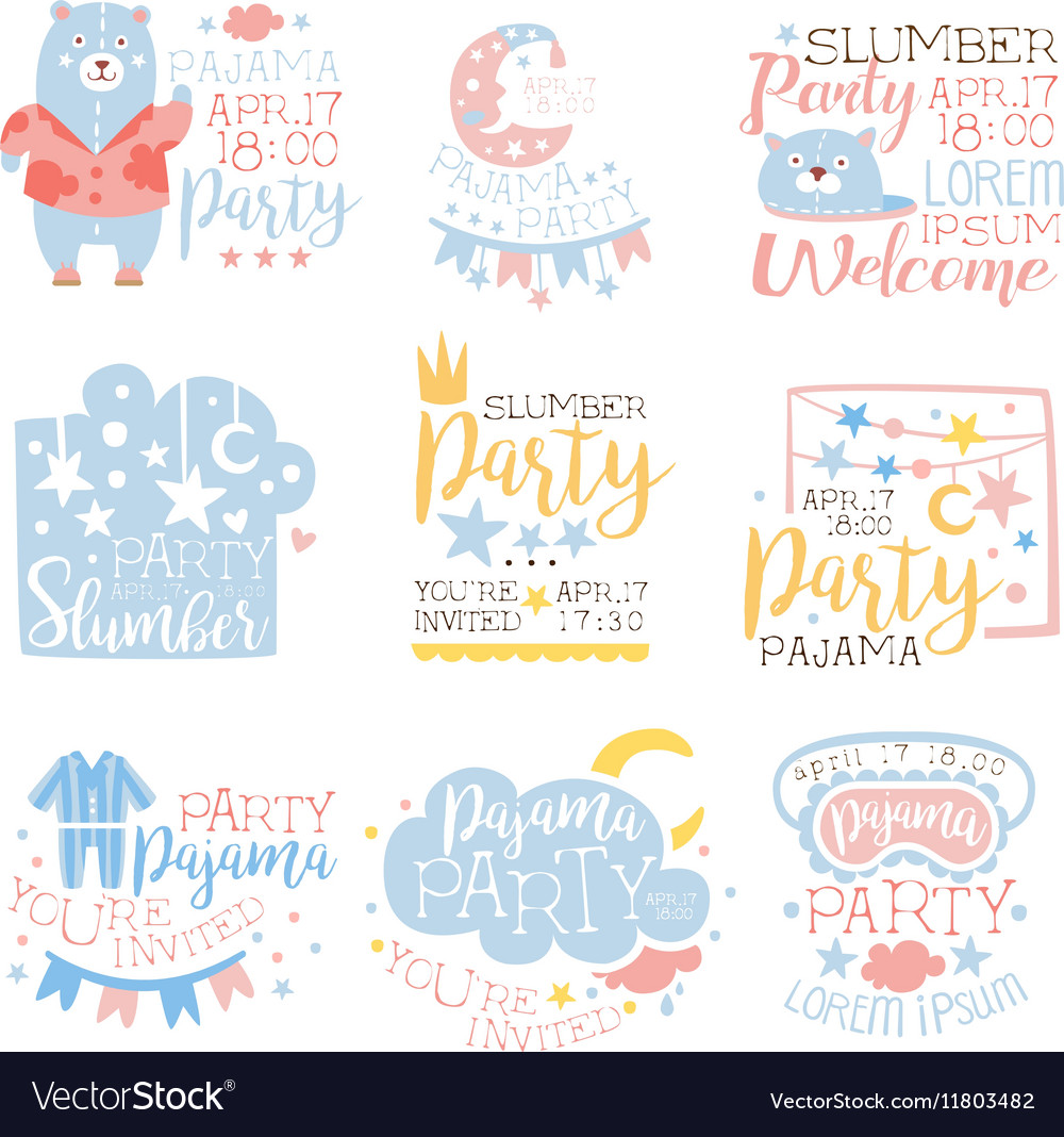 Blue and pink girly pajama party invitation vector