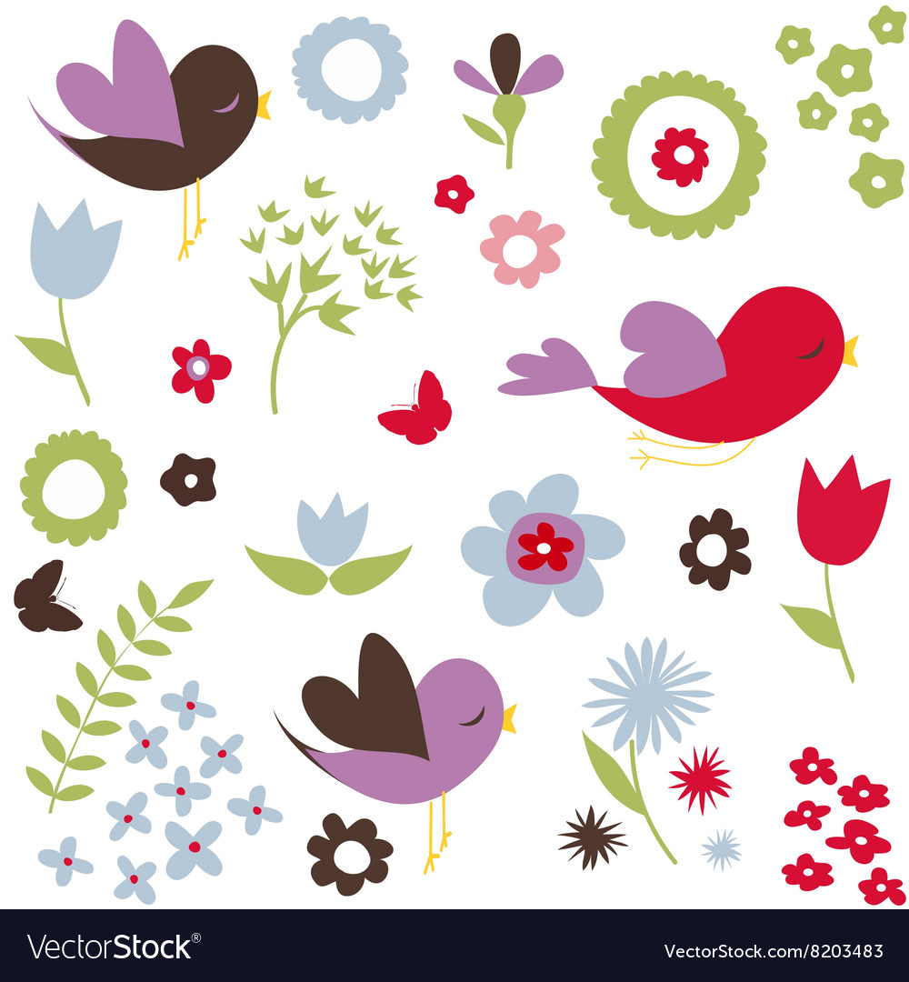 Birds and flowers spring background vector