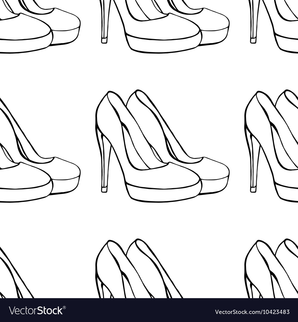 Shoe pattern background vector