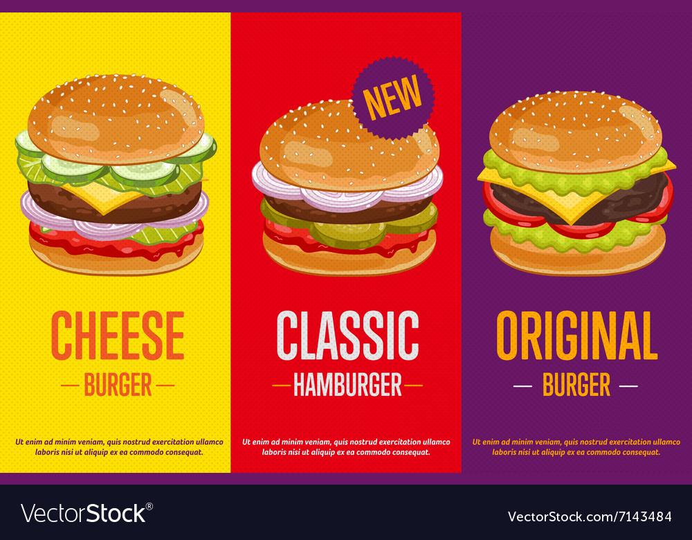 Burgers menu template vector