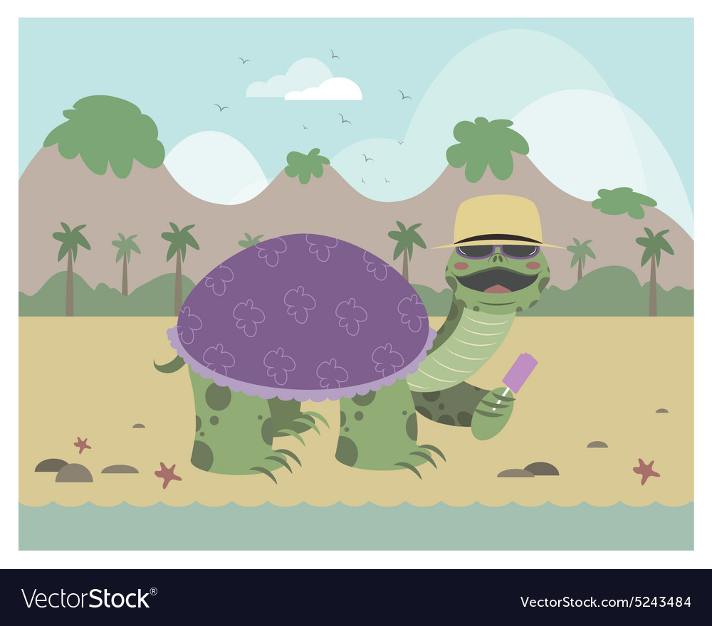 Turtle on a beach eating ice cream vector