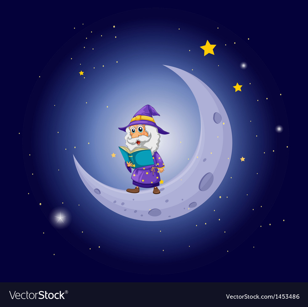 A wizard holding a book near the moon vector
