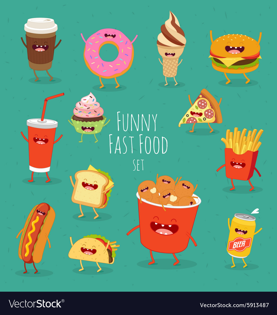 Funny fast food set vector