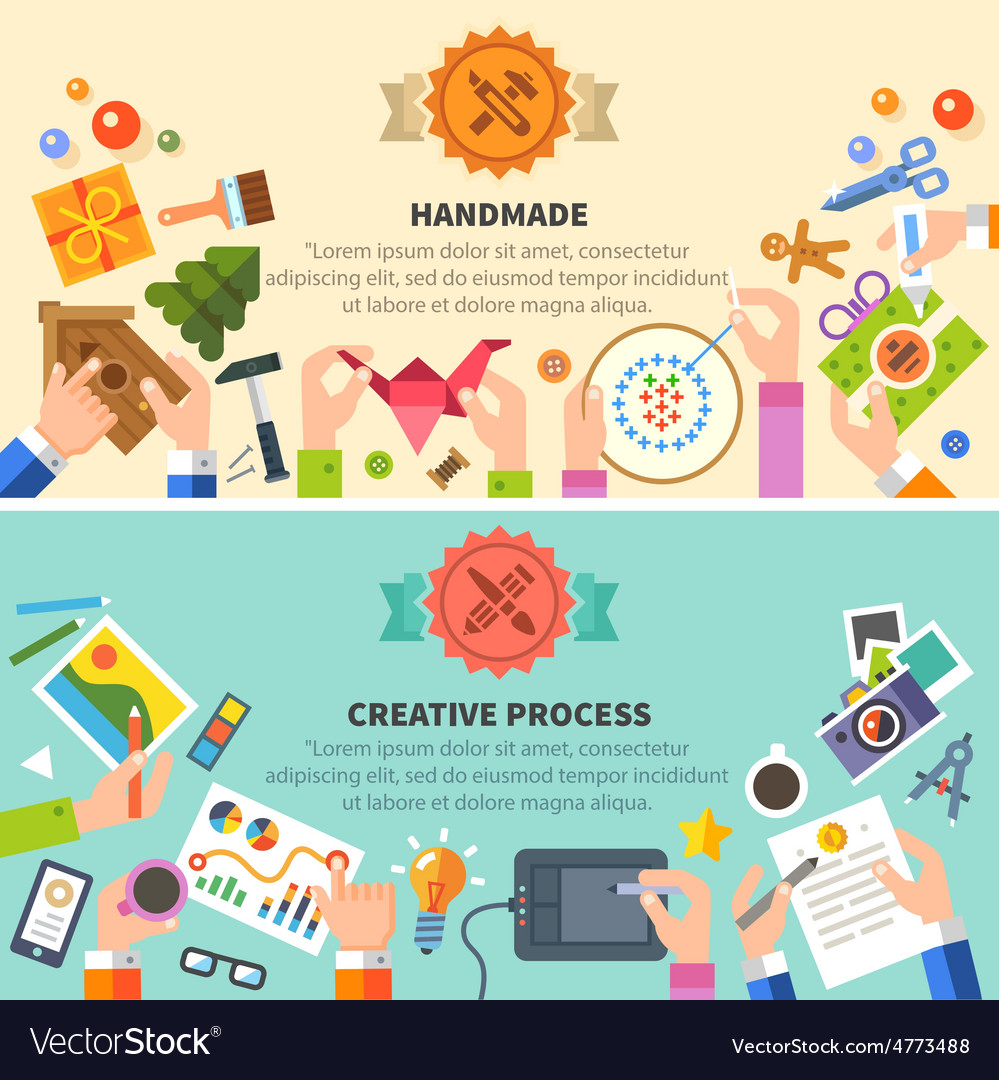 Handmade and creative process vector