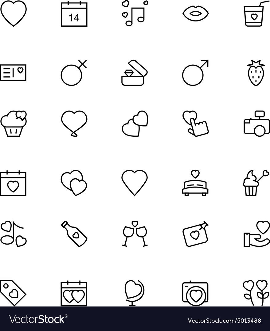 Love and romance line icons 1 vector