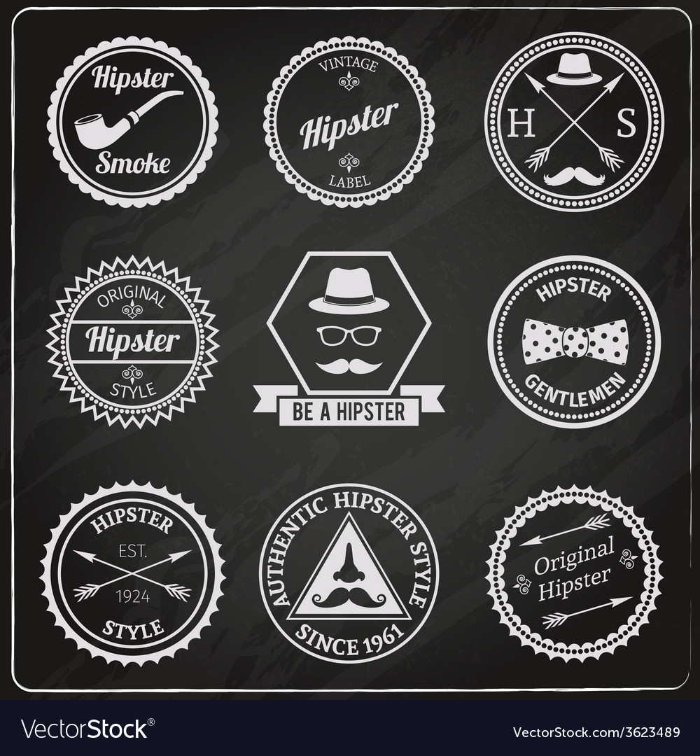 Hipster labels chalkboard vector