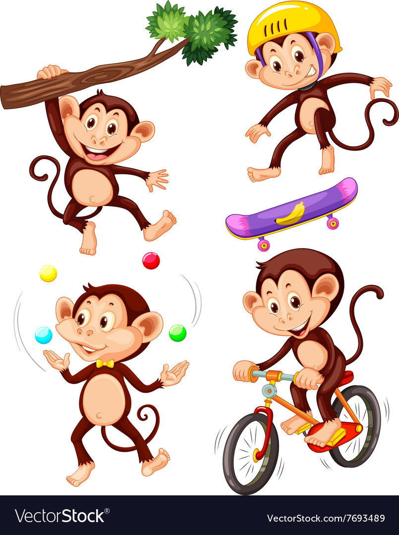 Little monkeys doing different actions vector