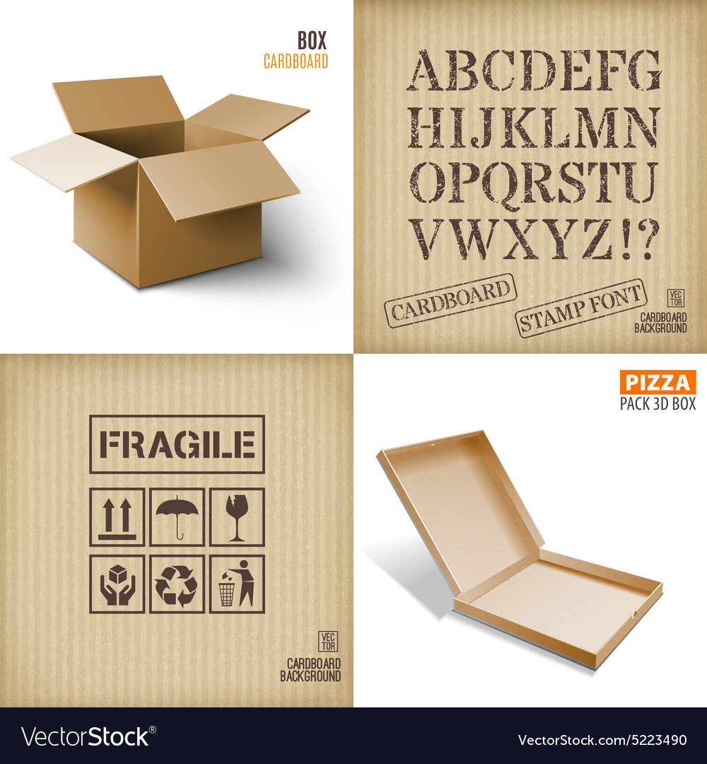 Cardboard set icons texture pizza box vector