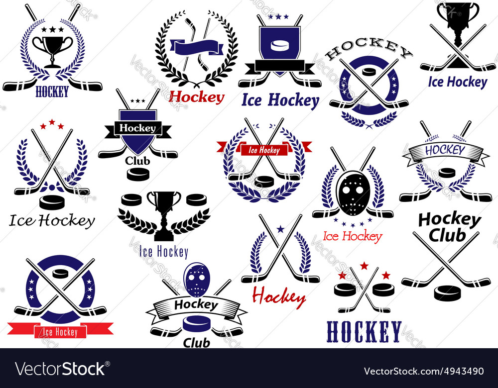 Ice hockey sport game heraldic emblems vector