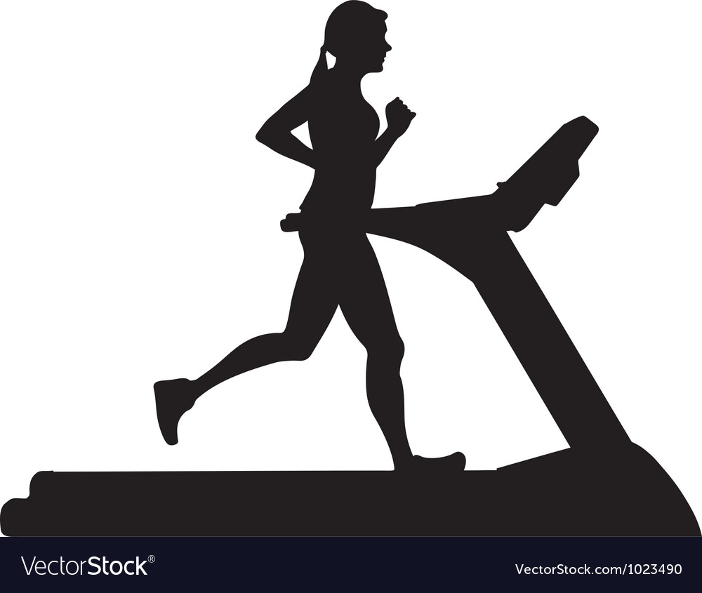 Silhouette of woman running on treadmill vector