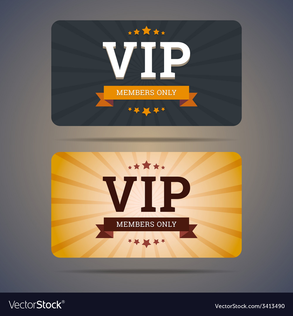 Vip club card design templates in flat style vector