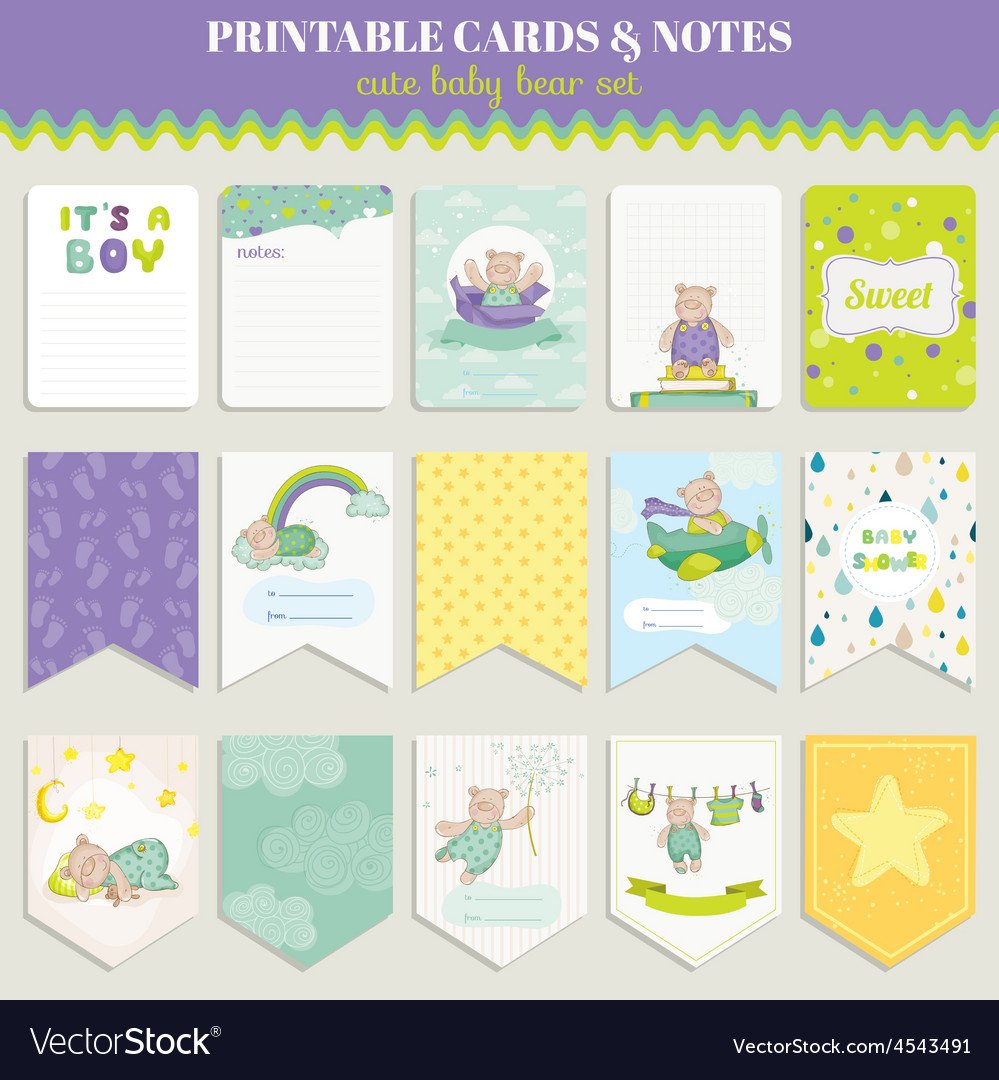 Baby bear card set for celebration vector