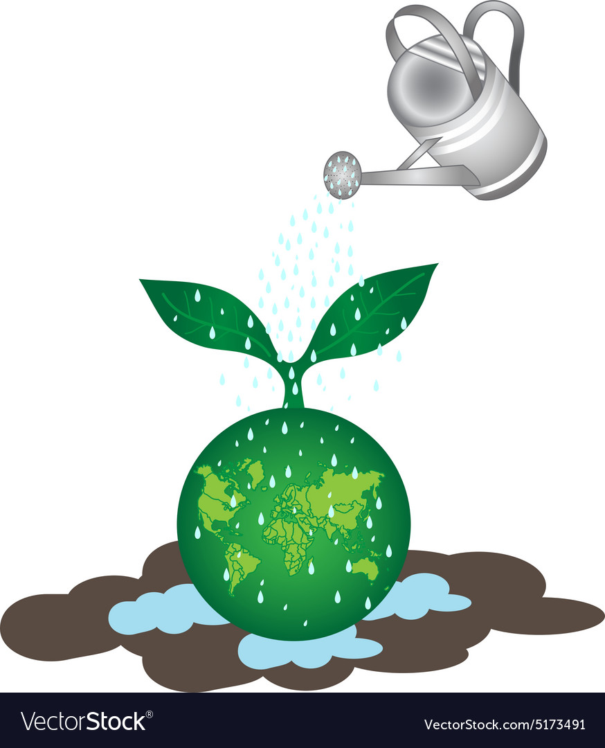 Shower tree on earth vector