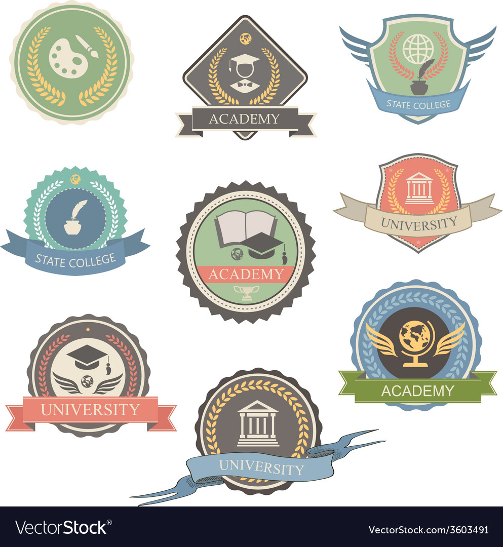 University emblems and symbols  isolated graphic vector