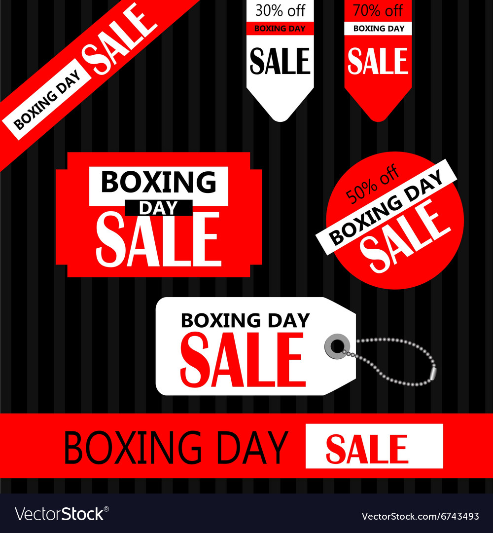 Boxing day retail tags vector