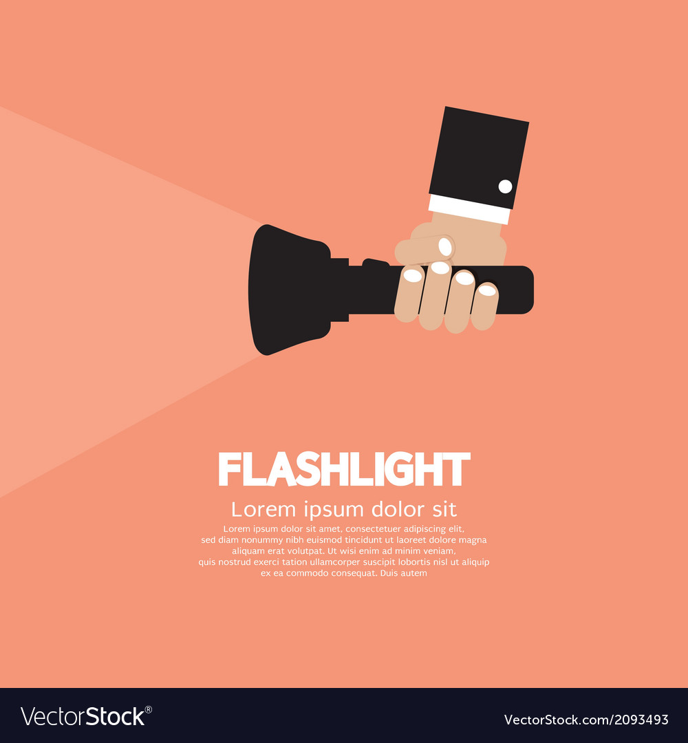 Hand holding a flashlight vector