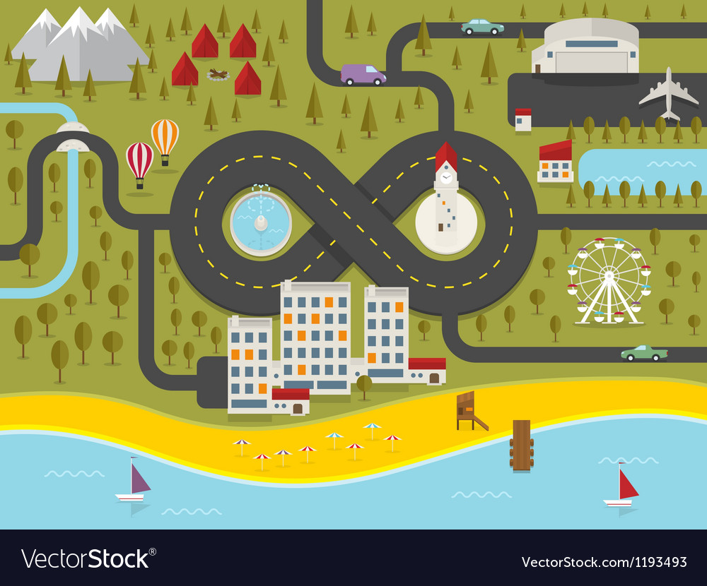 Map of resort town vector