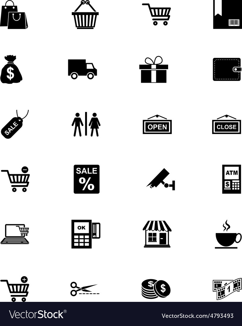 Shopping solid icons 1 vector