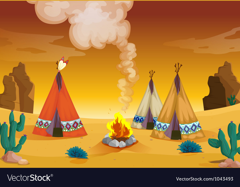 Tent house and fire vector