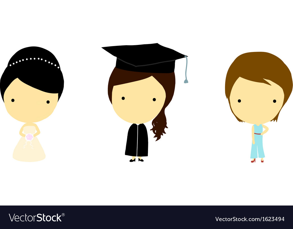 Girls in many characters vector