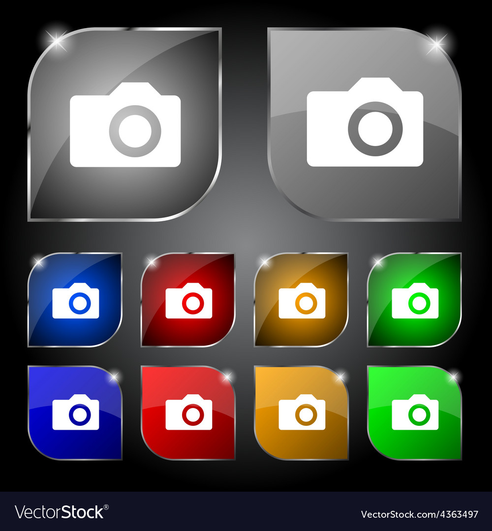 Digital photo camera icon sign set of ten colorful vector