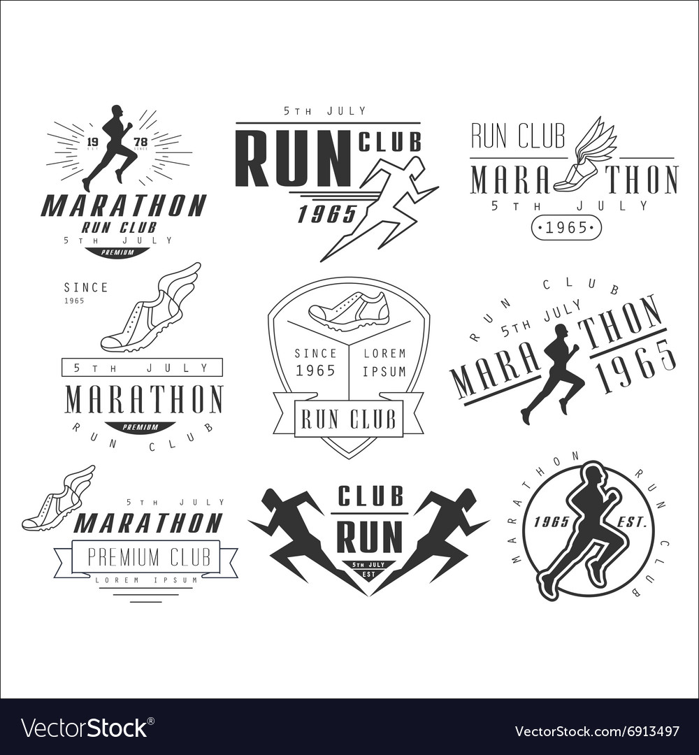 Running club labels emblems and design elements vector