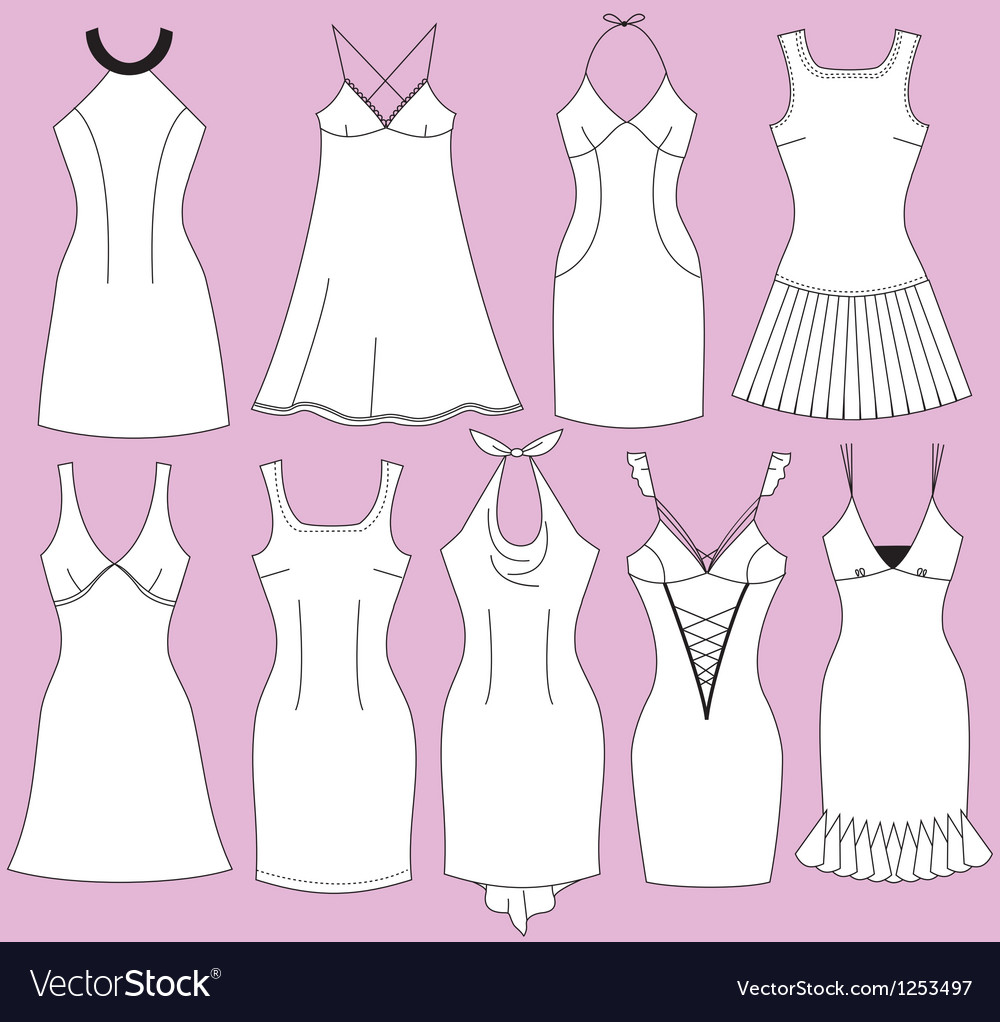 Woman night grown set vector