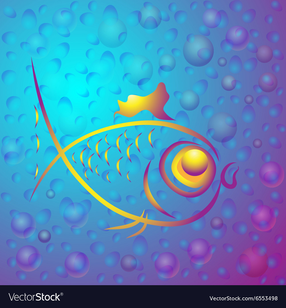 Background with abstract gold fish vector