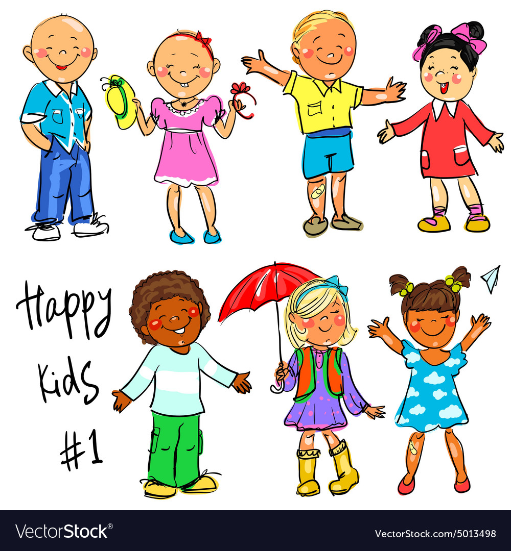 Happy kids  part 1 hand drawn clipart vector