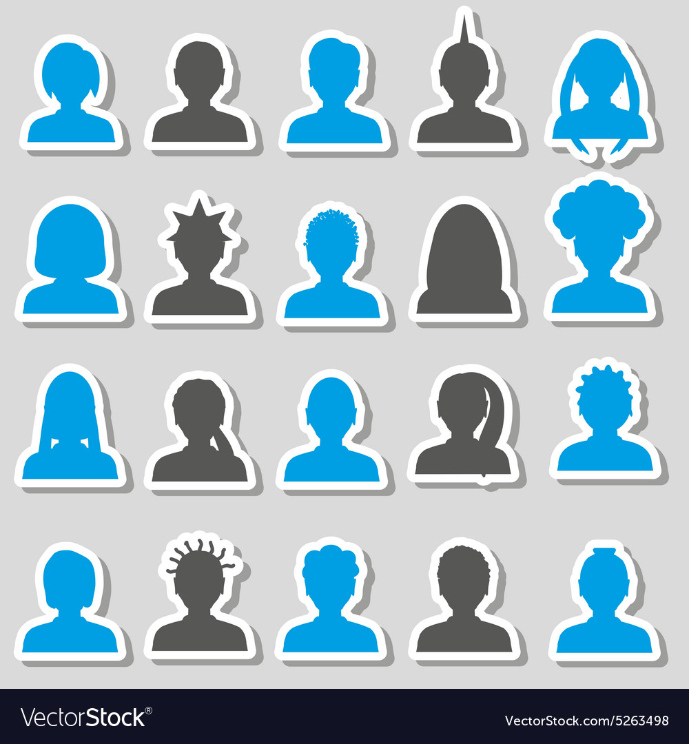 Men and women head simple avatar stickers set vector