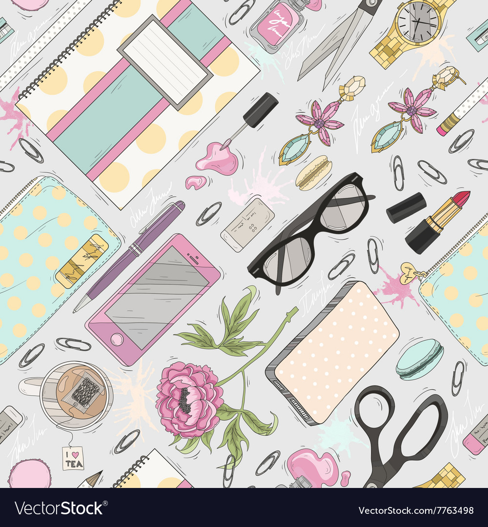 Seamless beauty pattern with make up nail polish vector