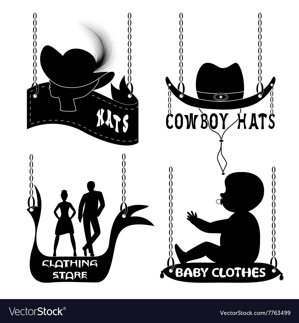 Different signboards of hats and clothes vector