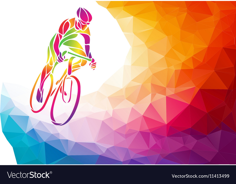 Professional cyclist involved in a bike race vector