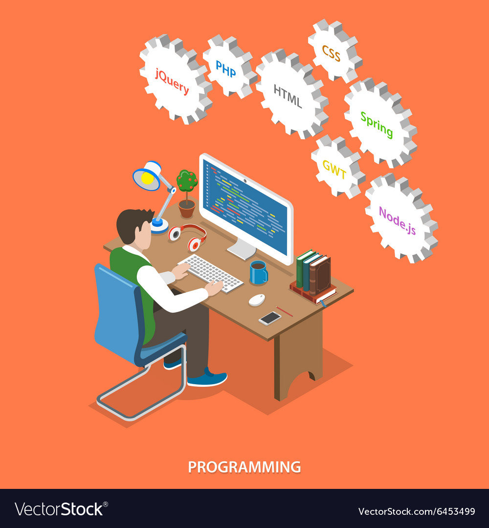 Programming flat isometric concept vector