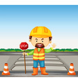 Road worker holding stop sign on the road vector image vector image