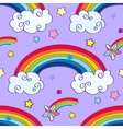 Hand drawn cartoon rainbow clouds and falling vector image