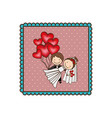emblem married couple with red heart bombs vector image