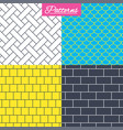 bricks tile roof and mosaic seamless textures vector image