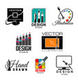 graphic and web design studio symbol set vector image vector image