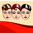 Invitation or commercial with woman faces vector image vector image