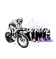 cycling on grungy background vector image