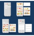 Opened refrigerator with food in flat style vector image vector image