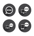 BYOD signs Notebook and smartphone icons vector image